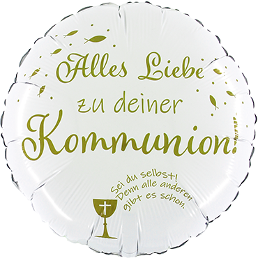 Folienballon Alles Liebe zu deiner Kommunion, weiß/gold, ca. 45 cm